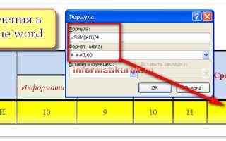 Формулы в текстовом редакторе word