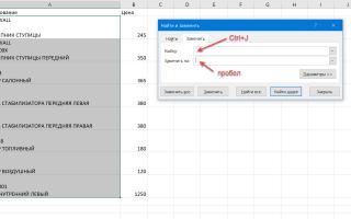 Excel символ переноса строки в ячейке