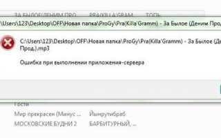 Проигрыватель ошибка при выполнении приложения сервера